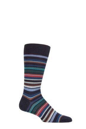 Mens 1 Pair Pantherella Quakers Merino Wool Striped Socks
