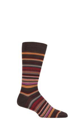 Mens 1 Pair Pantherella Quakers Merino Wool Striped Socks Chocolate 10-12 Mens