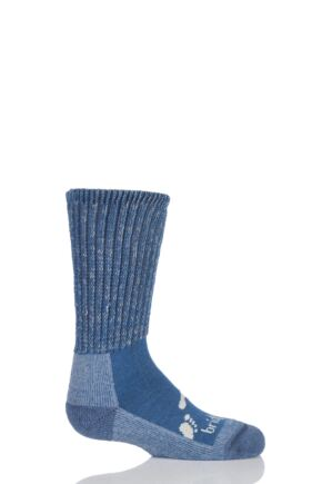 Kids 1 Pair Bridgedale Junior Trekker Socks All Day Comfort Storm Blue M