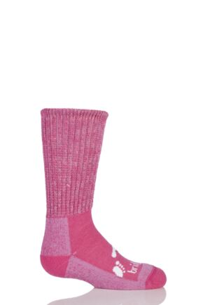 Kids 1 Pair Bridgedale Junior Trekker Socks All Day Comfort Pink L