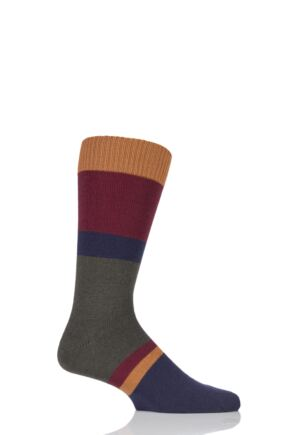 Mens 1 Pair Pantherella Hillingdon Heavy Gauge Block Stripe Merino Wool Socks Dark Olive Mix 9-11.5 Mens