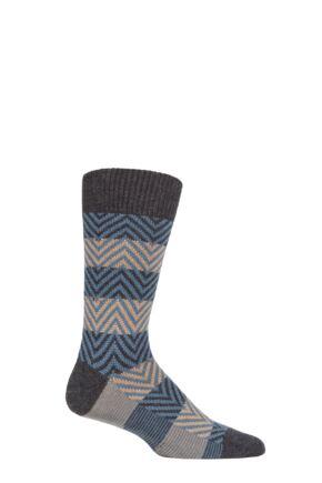 Mens 1 Pair Pantherella Hartwell Herringbone Stripe Merino Wool Socks