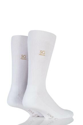 Mens 2 Pair FiveG Endurance Cushioned Sport Sock 33% OFF White