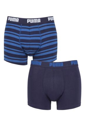 Mens 2 Pair Puma Plain and Striped Cotton Boxer Shorts