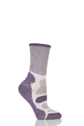 Ladies 1 Pair Bridgedale Active Light Hiker Cotton and Coolmax Socks For Summer Hiking Plum WL