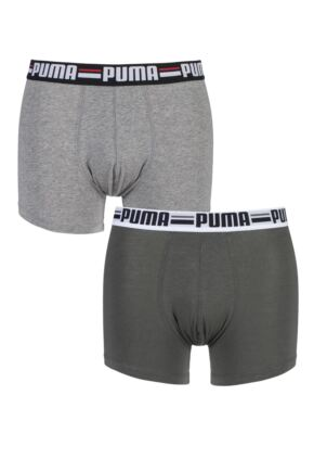 Mens 2 Pair Puma Branded Logo Boxer Shorts