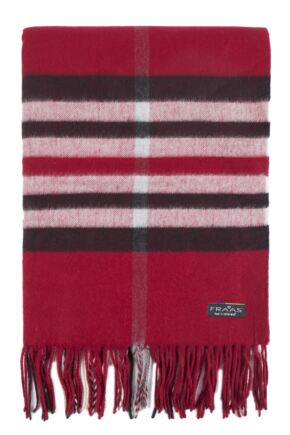 Mens and Ladies Fraas Cashmink Check Scarf Red