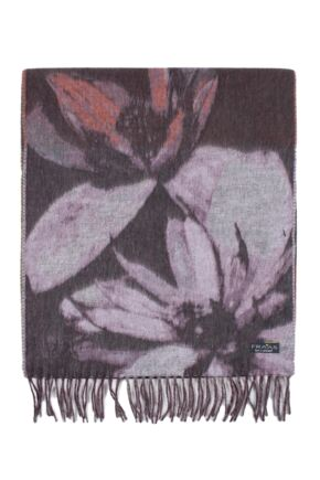Ladies Fraas Large Floral Pattern Cashmink Scarf Purple