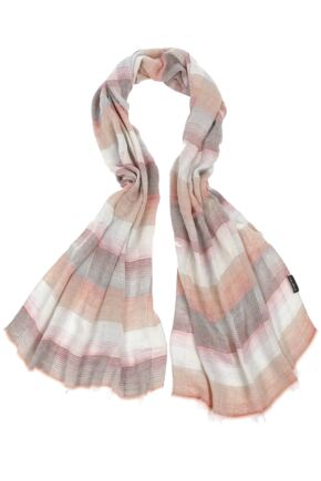 Mens Fraas Modal Lightweight Striped Check Scarf 75% OFF Orange