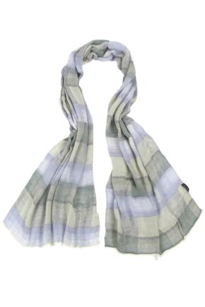 Mens Fraas Modal Lightweight Striped Check Scarf 75% OFF Green