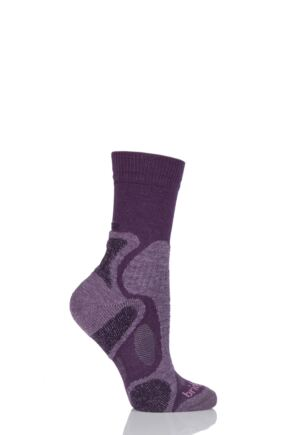 Ladies 1 Pair Bridgedale X-Hale Trailblaze Socks With Impact And Protective Padding Plum M