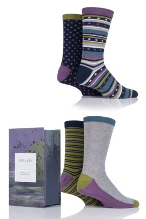 Mens 4 Pair Thought Montifield Bamboo and Organic Cotton Socks in Gift Box
