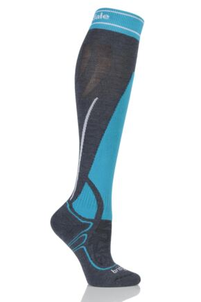 Ladies 1 Pair Bridgedale Vertige Midweight Over the Calf MerinoFusion Ski Socks Gunmetal / Turquoise 7-8.5