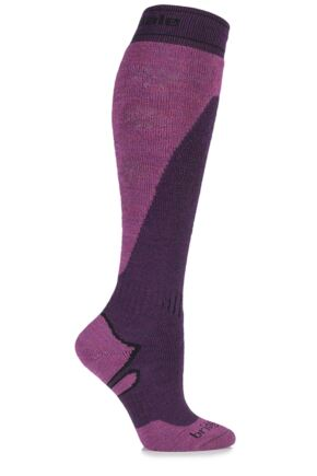 Ladies 1 Pair Bridgedale All Mountain MerinoFusion Midweight Ski Socks Plum / Berry 3-4.5 Ladies