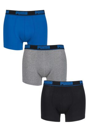 Mens 3 Pack Puma Plain Cotton Boxer Shorts With Contrast Waistband