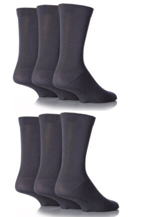 Mens 6 Pair SockShop Comfort Cuff Plain Bamboo Socks with Smooth Toe Seams