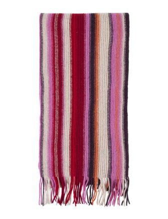 Unisex Great and British Knitwear 100% Lambswool Striped Fringed Scarf. Made in Scotland