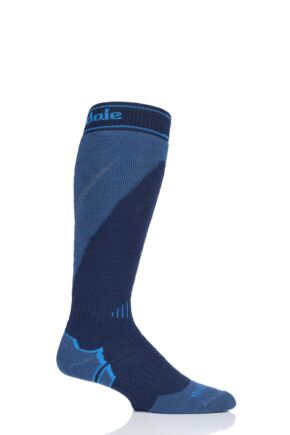 Mens 1 Pair Bridgedale Merino Endurance Midweight Ski Socks Navy / Steel Large