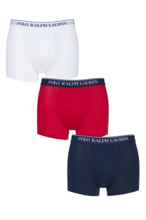 Mens 3 Pack Ralph Lauren Plain Cotton Stretch Trunks