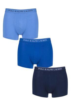 Mens 3 Pack Ralph Lauren Plain Cotton Stretch Trunks