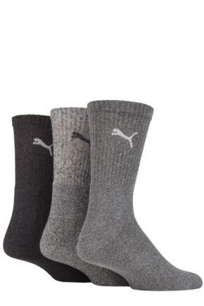 Mens and Ladies 3 Pair Puma Sports Socks Anthracite Grey 6-8 Unisex