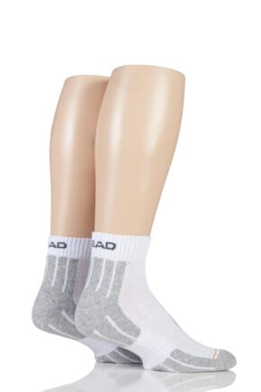 Mens 2 Pair Head Performance Sport Quarter Socks White 9-11 Mens