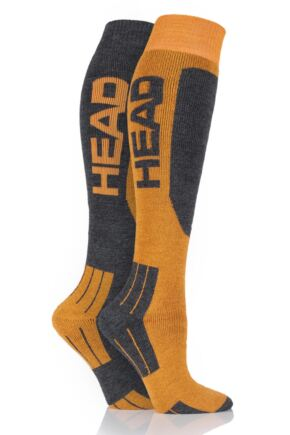 Ladies 2 Pair Head Wool Blend Ski Socks Orange 6-8
