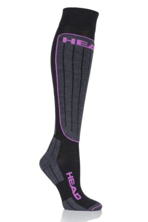 Ladies 1 Pair Head Wool Blend Performance Ski Socks