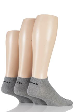 Mens and Ladies 3 Pair Head Cotton Sport Sneaker Socks Grey 9-11