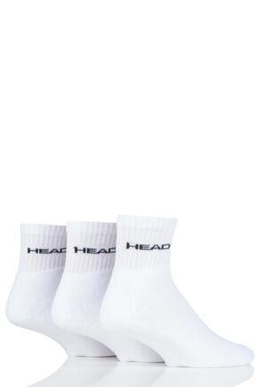 Mens and Ladies 3 Pair Head Short Crew Cushioned Sports Socks White 6-8