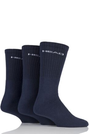 Mens 3 Pair Head Plain Cotton Sport Crew Socks In Black Navy 9-11 Mens