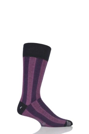 Mens 1 Pair Corgi Lightweight Cashmere Blend Vertical Striped Socks Purple 11-12