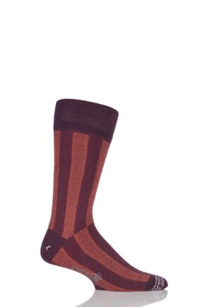 Mens 1 Pair Corgi Lightweight Cashmere Blend Vertical Striped Socks Wine 11-12