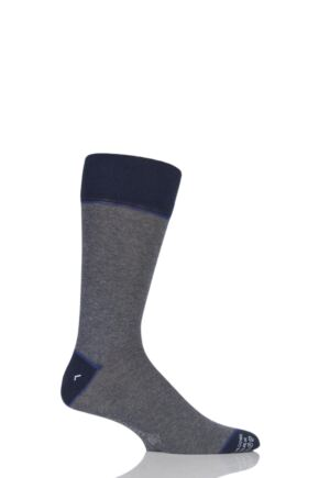 Mens 1 Pair Corgi Lightweight Cashmere Blend Contrast Heel, Toe and Welt Socks Grey 9.5-10