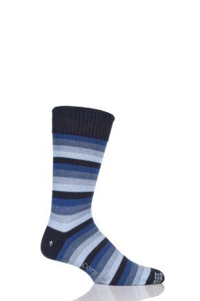 Mens 1 Pair Corgi Heavyweight Wool 5 Colour Striped Socks