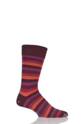 Mens 1 Pair Corgi Heavyweight Wool 5 Colour Striped Socks Burgundy 6-7