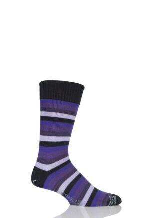 Mens 1 Pair Corgi Heavyweight Wool 5 Colour Striped Socks Purple 11-12