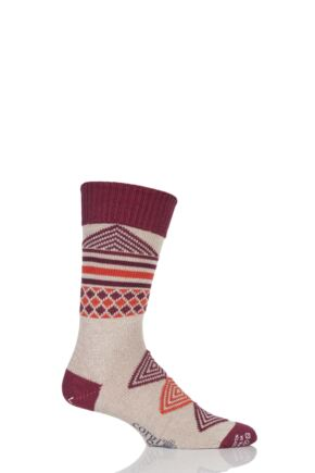 Mens 1 Pair Corgi Heavyweight Wool Aztec Socks Linen / Red 6-7