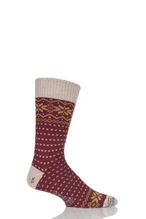 Mens 1 Pair Corgi Heavyweight Wool Fair Isle Socks Red / Linen 11-12