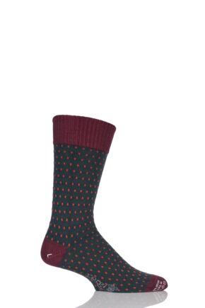 Mens 1 Pair Corgi Heavyweight Wool Pindot Socks Green 6-7