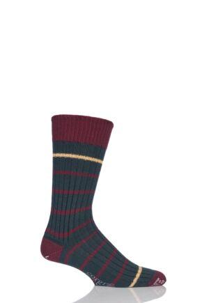 Mens 1 Pair Corgi Heavyweight Wool Thin Striped Ribbed Socks Green 6-7