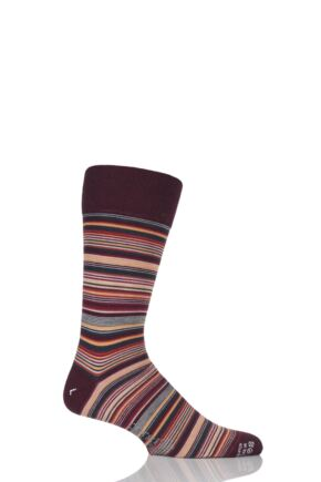 Mens 1 Pair Corgi Lightweight Wool Fine Striped Socks Wine 6-7