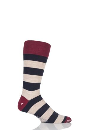 Mens 1 Pair Corgi Lightweight Wool American Striped Socks