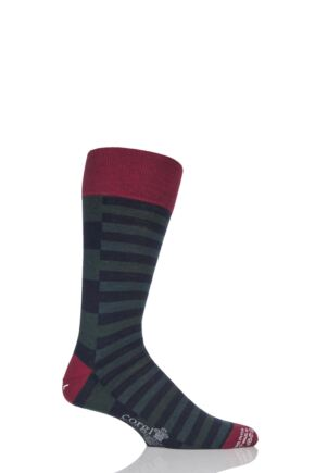 Mens 1 Pair Corgi Lightweight Wool Split Striped Socks Green 9.5-10