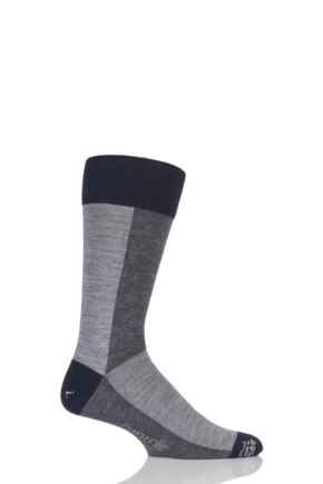 Mens 1 Pair Corgi Lightweight Wool American Colour Block Socks Grey 9.5-10