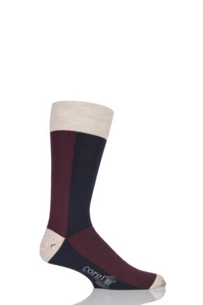 Mens 1 Pair Corgi Lightweight Wool American Colour Block Socks Wine 11-12