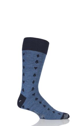Mens 1 Pair Corgi Lightweight Wool Spades, Clubs, Diamonds and Hearts Socks Navy / Blue 7.5-9
