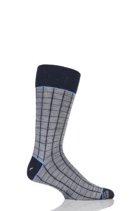 Mens 1 Pair Corgi Lightweight Wool Square Check Socks Grey 7.5-9