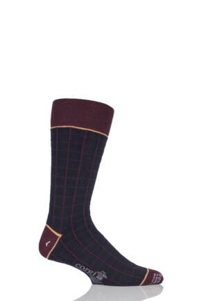 Mens 1 Pair Corgi Lightweight Wool Square Check Socks