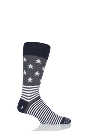 Mens 1 Pair Corgi Lightweight Wool Stars N Stripes Socks